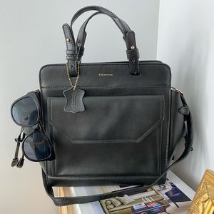 KBG Black Label Black Leather satchel bag